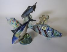 Two Beswick fish, (a.f.), two Murano style glass fish and another model of a fish, (5).