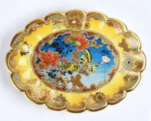 A JAPANESE YELLOW GROUND SATSUMA DISH BY TAIZAN