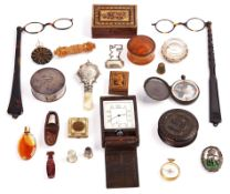 A JAEGER LE-COULTRE 8-DAY TRAVEL CLOCK, TWO PAIRS OF TORTOISESHELL FOLDING SPECTACLES AND...