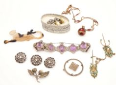 A SILVER, AMETHYST AND MARCASITE SET BRACELET AND EIGHT FURTHER ITEMS (9)