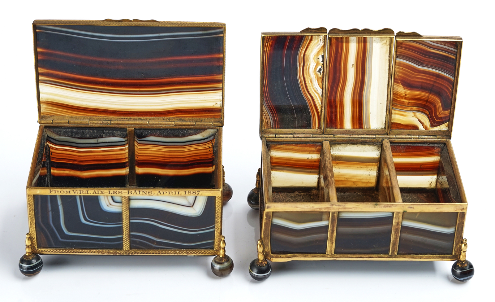 A VICTORIAN ROYAL PRESENTATION FRENCH ORMOLU MOUNTED AGATE CASKET AND ANOTHER SIMILAR - Image 5 of 5
