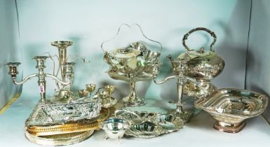 Silver plated items, including, a pair of candelabra, flower vases, a kettle on a stand,...
