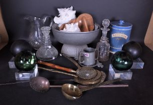Collectibles including two Victorian cut glass decanters