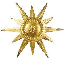 A gilt metal starburst ceiling lamp/wall appliqué