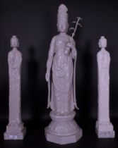 A modern cast iron grey painted figure of a Buddha on double lotus base