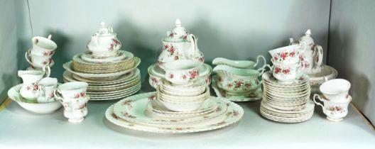 """Ceramics, an extensive Royal Albert """"Lavendar Hall"""" pattern part dinner and tea set."""