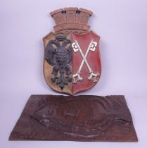 A modern carved hardwood plaque of a Plaice