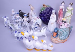 Ceramics, mostly modern figures and cow creamers, including Lladro