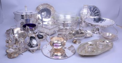 Silver plated items, including a cocktail shaker, wine coasters, an inkwell, trays dishes and...