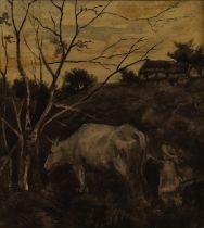 Currently missing one sketch of two cows (was part of Lot 487 April) English school, late 19th...