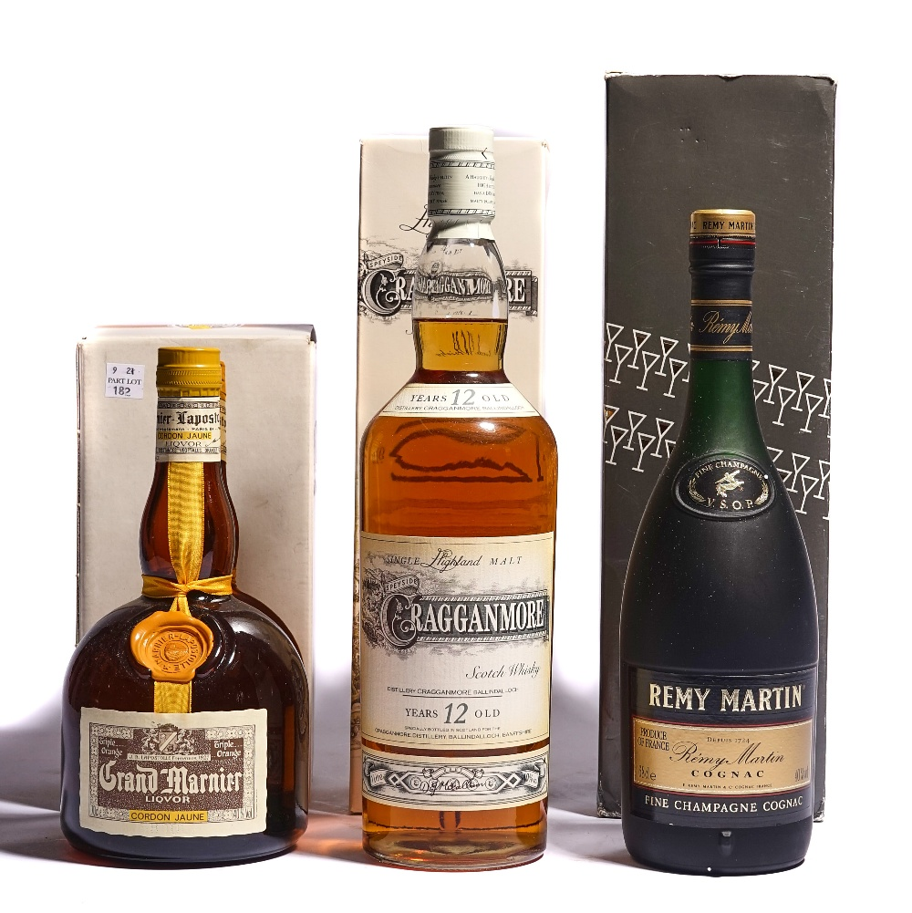 A 1L BOTTLE OF CRAGGANMORE WHISKY, 1 REMY MARTIN COGNAC AND 1 GRAND MARNIER