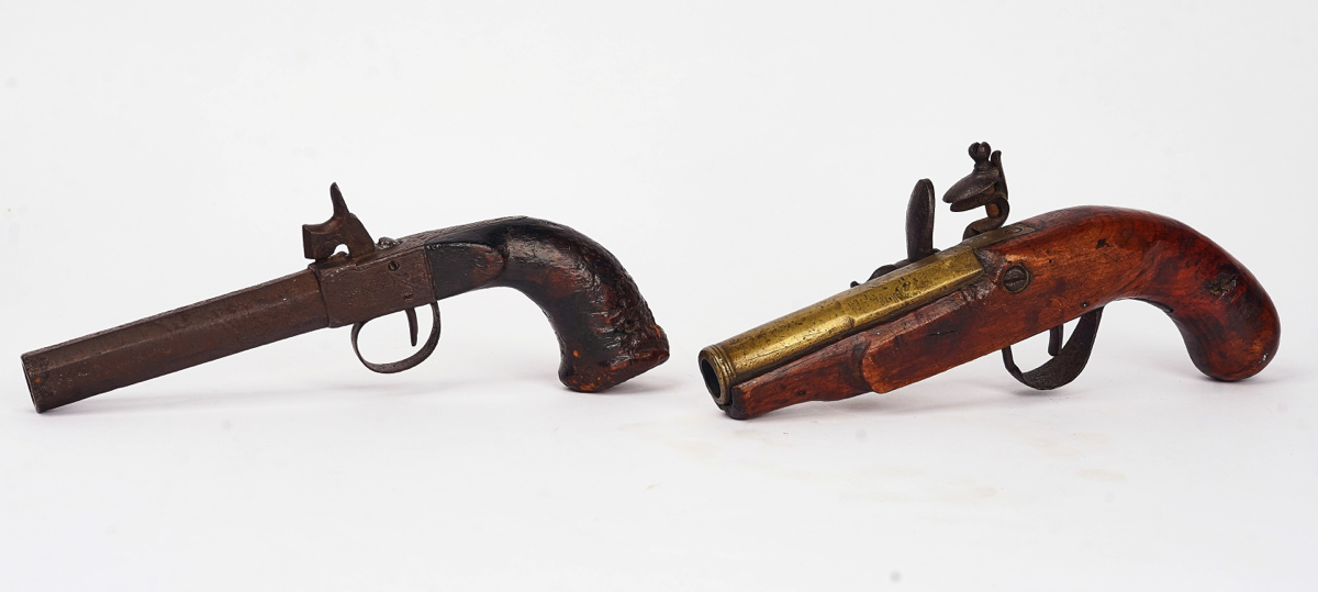 A FLINTLOCK PISTOL AND A PERCUSSION PISTOL (2) - Image 6 of 7