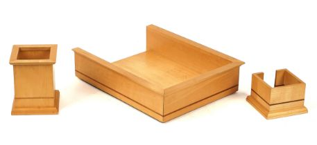 DAVID LINLEY FOR DUNHILL; A SYCAMORE AND WALNUT LINE INLAID DESK TRAY, MEMO HOLDER AND PEN...