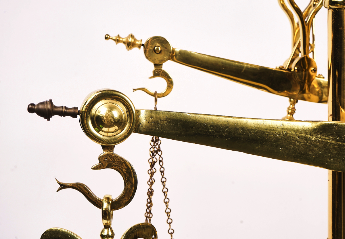 A SET OF PORTUGUESE FLOOR STANDING POLISHED BRASS BUTCHER'S WEIGHING SCALES - Image 3 of 5