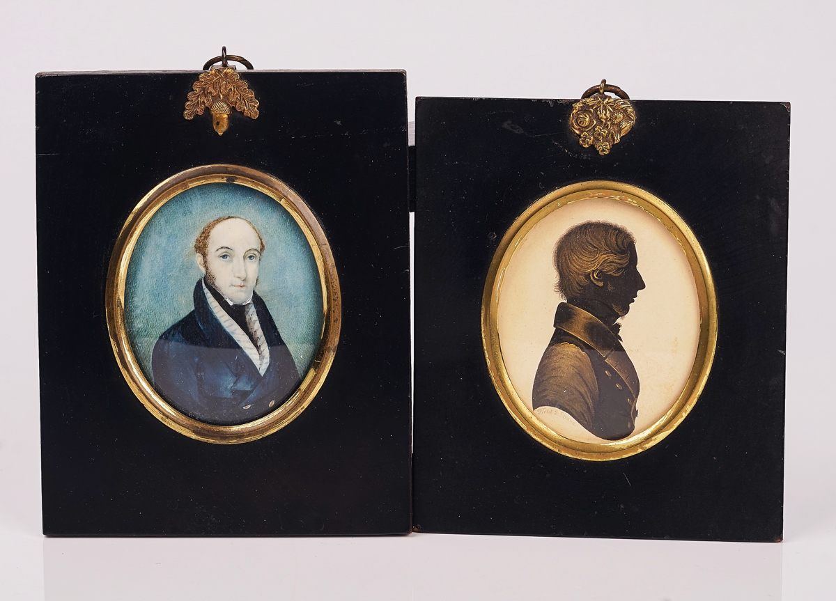 A GROUP OF FIVE PORTRAIT MINIATURES AND TWO SILHOUETTES (7) - Image 9 of 19