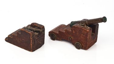 A BRONZE MODEL OF A SIGNAL CANNON AND ANOTHER SMALLER (2)