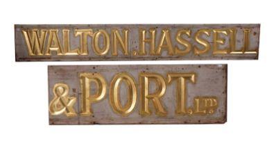 A LARGE SHOP SIGN 'WALTON HASSELL & PORT LTD'