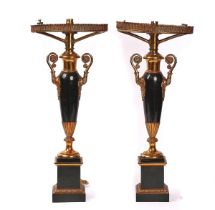 A PAIR OF FRENCH GILT-BRASS AND TOLE PEINTE SINUMBRA TABLE LAMPS