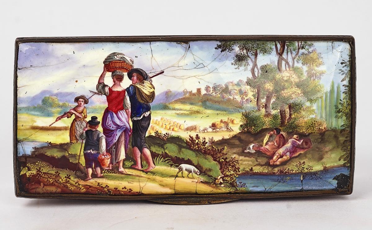 A BIRMINGHAM OR SOUTH STAFFORDSHIRE ENAMEL TOBACCO BOX - Image 2 of 4