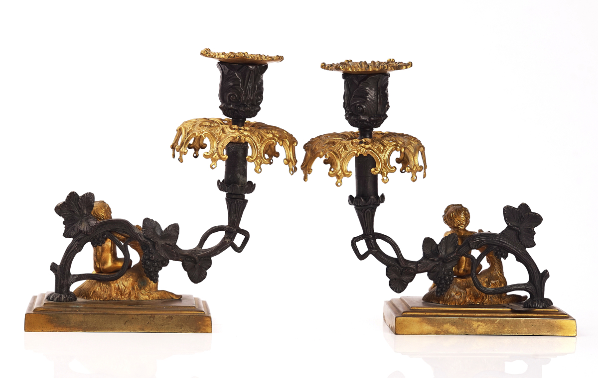 A PAIR OF EARLY VICTORIAN PARCEL-GILT AND BRONZE PATINATED CANDLESTICKS - Image 2 of 5