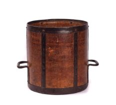 AN IRON BOUND BENTWOOD HALF BUSHELL GRAIN MEASURE AND WOOL COMB