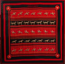 CATY LATHAM FOR HERMES; A RED, BLACK AND ORANGE SILK SCARF, 'SEQUENCES'