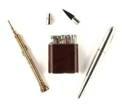 A NOVELTY STERLING SILVER ALFRED DUNHILL BALLPOINT PEN AND TWO FURTHER ITEMS (3)