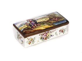 A BIRMINGHAM OR SOUTH STAFFORDSHIRE ENAMEL TOBACCO BOX
