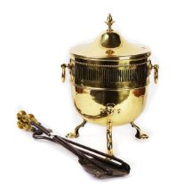 A LACQUERED BRASS COAL BUCKET AND FIRE TOOLS