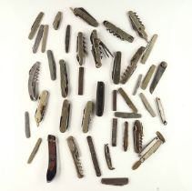 THIRTY-EIGHT MOSTLY STEEL CASED POCKET KNIVES