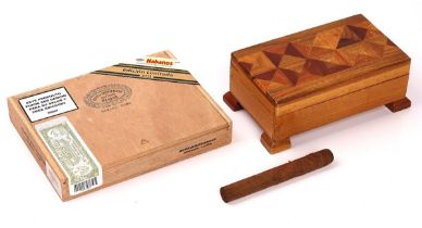 A SEALED BOX OF HOYO DE MONTERREY 2011 LIMITED EDITION CIGARS AND A MARQUETRY CIGAR BOX (2)
