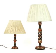 TWO KASHMIRI LACQUER TABLE LAMPS (2)