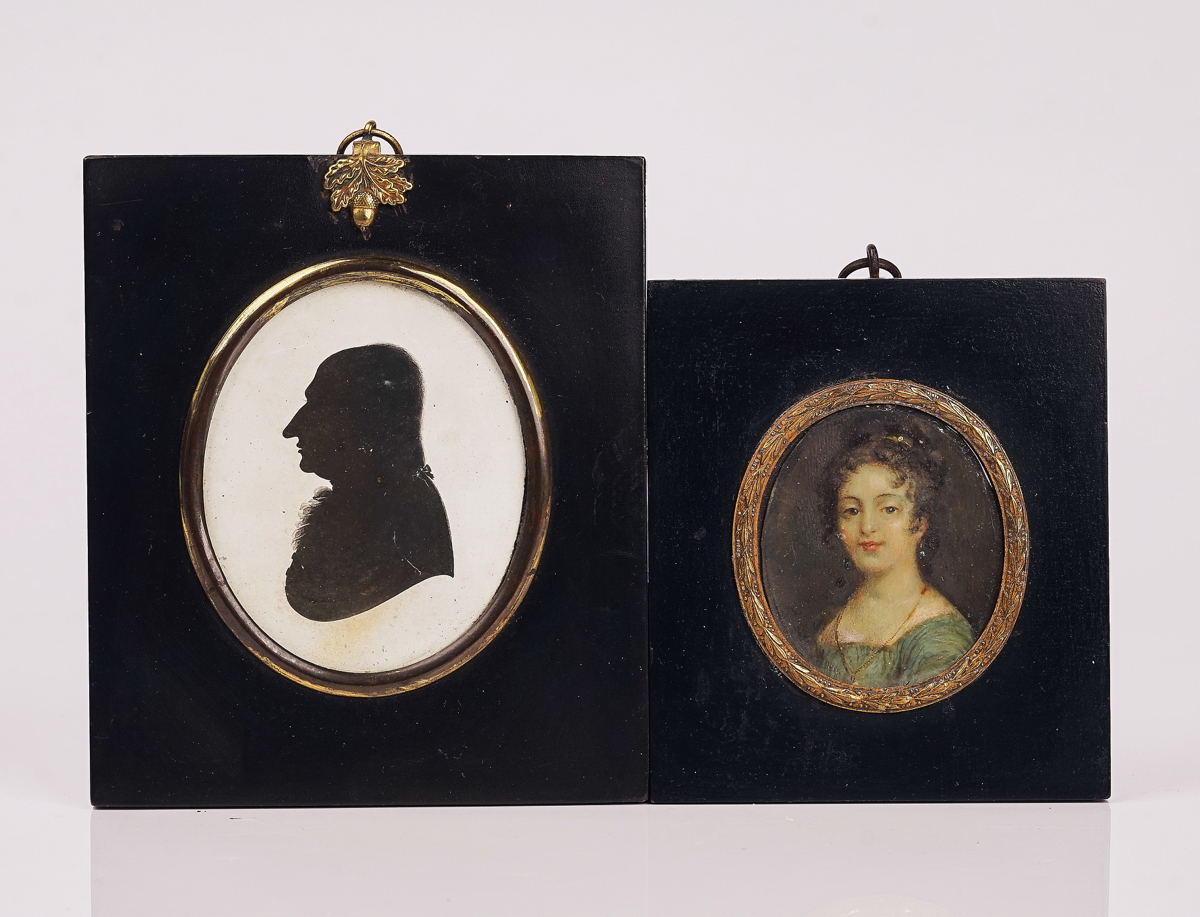 A GROUP OF FIVE PORTRAIT MINIATURES AND TWO SILHOUETTES (7) - Image 12 of 19