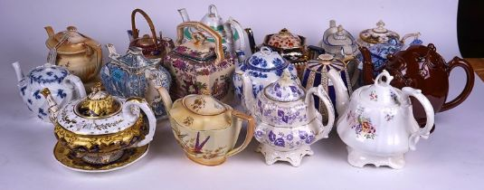 A COLLECTION OF SEVENTEEN 19TH CENTURY AND LATER TEAPOTS (17)