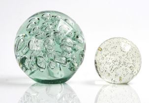 TWO LARGE SPHERICAL GLASS PAPERWEIGHTS (2)