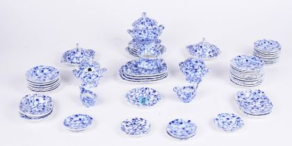 A VICTORIAN BLUE AND WHITE GLAZED PART TEA SET