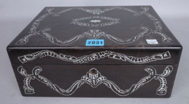 A VICTORIAN MOTHER-OF-PEARL INLAID HARDWOOD SEWING BOX