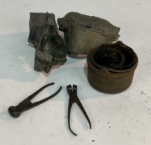 WITHDRAWN OCT LOT 2048; TWO PAIRS OF IRON SCISSOR-ACTION BULLET MOULDS, TWO CAULDRONS AND SOME...