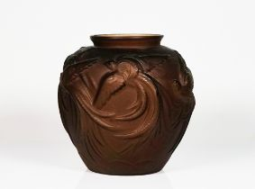 A FRENCH FROSTED AND BROWN GLASS VASE