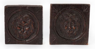 TWO SMALL CARVED OAK PANELS (2)