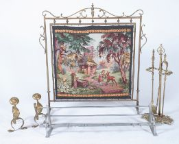 A BRASS FRAMED TAPESTRY FIRE SCREEN, A SET OF FIRE TOOLS WITH A STAND AND TWO FURTHER ITEMS (4)
