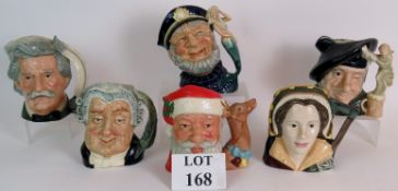Six Royal Doulton character jugs to incl