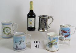 Four ceramic RAF Commemorative tankards,