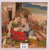 An unframed antique tapestry panel of tw