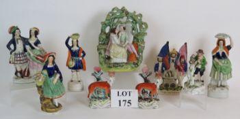Nine Staffordshire pottery figures inclu