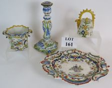 Three pieces of Italian antique tin glaz