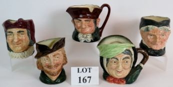 Five Royal Doulton character jugs to inc