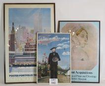 Three stylish vintage posters, glazed an