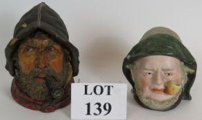 Two fisherman character head tobacco jar