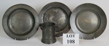 Three 18th/19th Century pewter plates, a